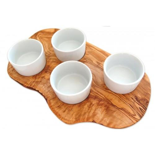 Olive Wood Tray & Dip Porcelain Bowls | D.O.M.