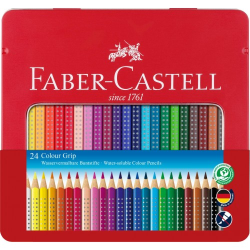 Faber-Castell Colour Grip Crayon 24 shades in tin