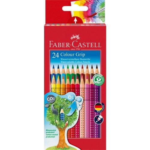 24 Eco Pencils Colour Grip Crayon Set cardboard wallet - Faber-Castell