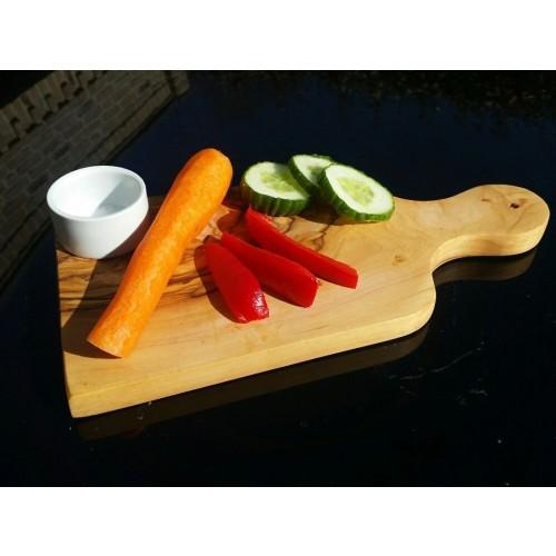 Veggie Board from Olive Wood & Porcelain Bowl | D.O.M.