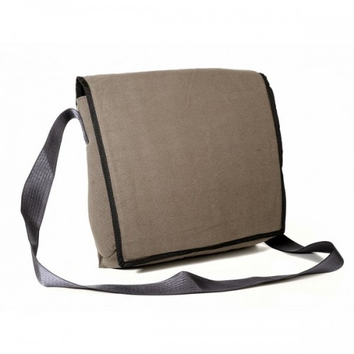 Messenger Bag of recycled parachute bag canvas in taupe
