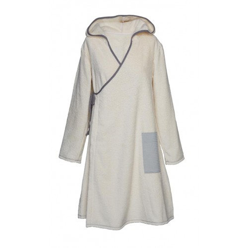 Women Eco Terrycloth Wrap Bathrobe with Hoodie | early fish