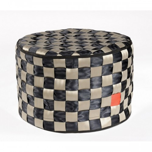 Square ottoman | recycled security seatbelt circle