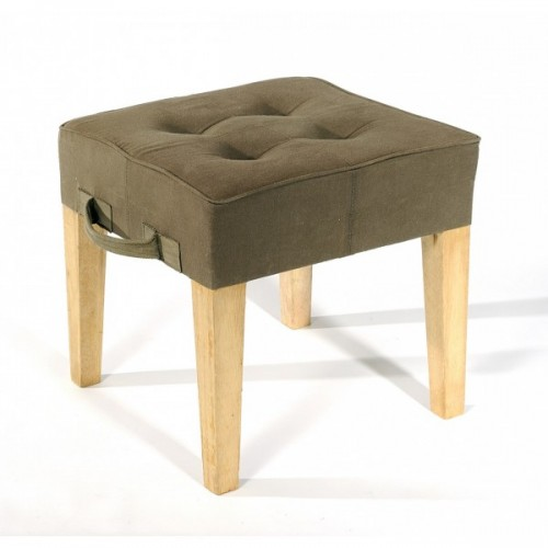 Recycled parachute bag in khaki & wood | Paraseat stool