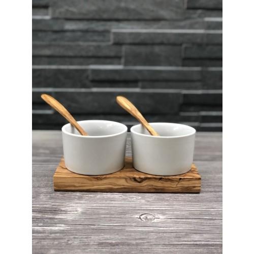 Porcelain Serving Dishes Set BERLIN, Olive Wood Tray, 2 Spoons » D.O.M.