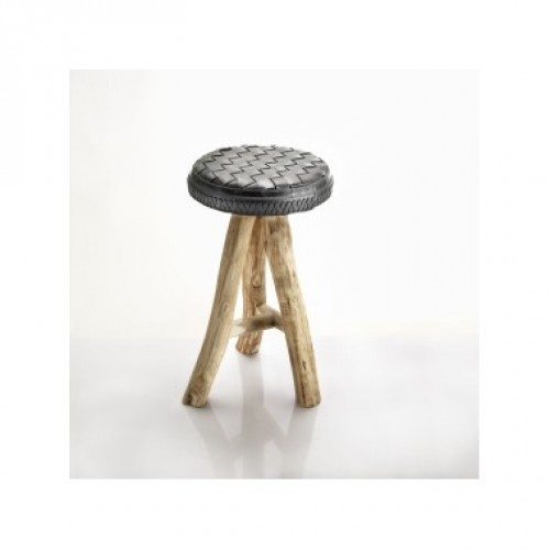 Brandon | stool in recycled inner tube straps