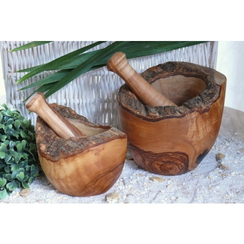 D.O.M. Olive Wood Mortar, rustic style, & Pestle