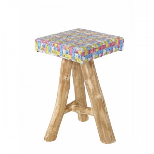 Coco | Stool in wood and measurig tapes diverted