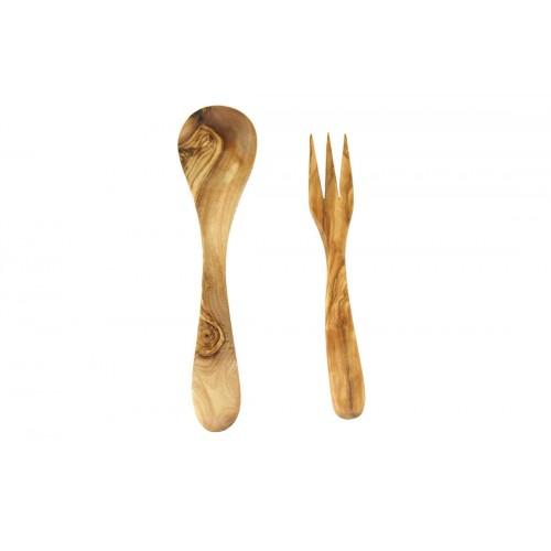 Olive Wood Cutlery, 2 piece, Spoon & Fork   Olivenholz erleben