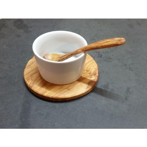 Porcelain Dip Bowl Set ROSE GARDEN on Olive Wood Tray » D.O.M.