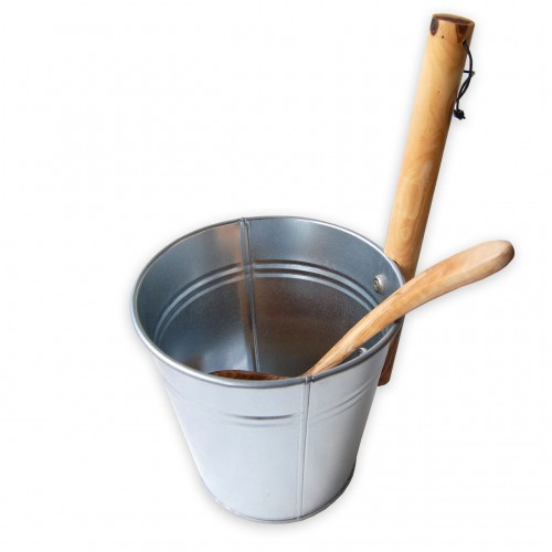 Sauna Accessory: Metal Bucket 3 L without Olive Wood Ladle | D.O.M.