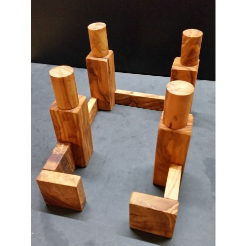 Solid Olive Wood Block Playset Kit in Jute Sack » D.O.M.