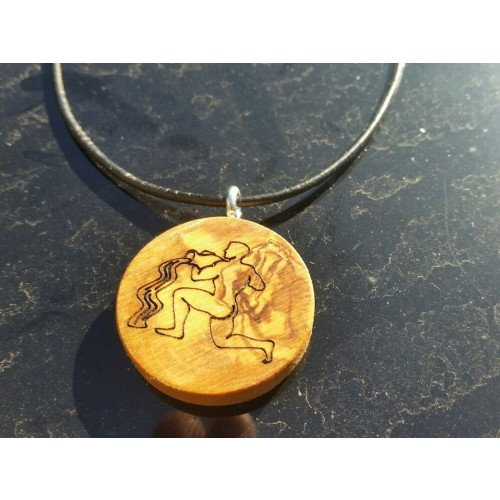 Zodiac Sign Olive Wood Pendant on leather strap | D.O.M.