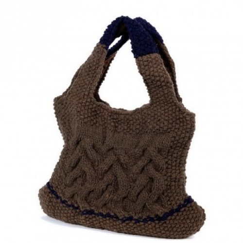 Devi | brown-blue bag in wool