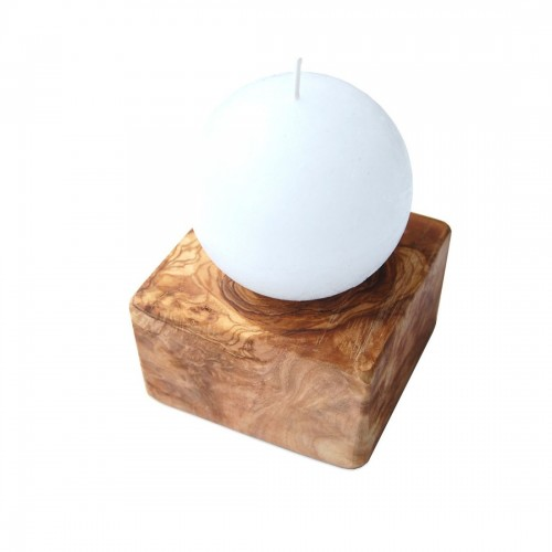 Candle Ball on olive wood candle holder PEDESTAL | D.O.M.