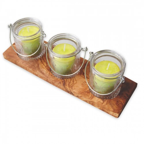 Olive Wood Candle Holder VETRO LEMON Votive Candles | D.O.M.