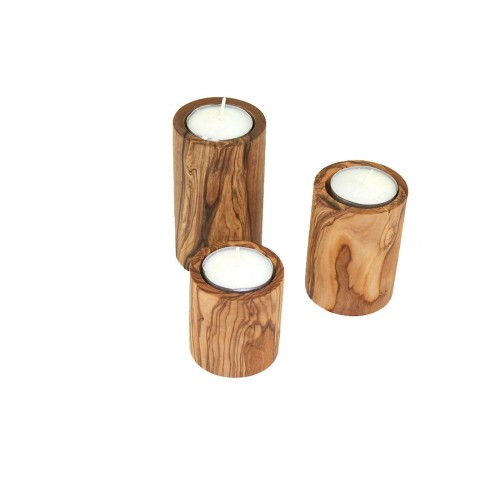 Tea Light Holder of Olive Wood, 3 pieces | Olivenholz erleben