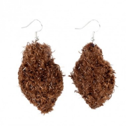 Leaf R | brown earrings in recycled wool