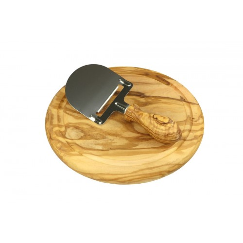 Olive wood Cheese Board with Cheese Slicer, handle turned | Olivenholz erleben
