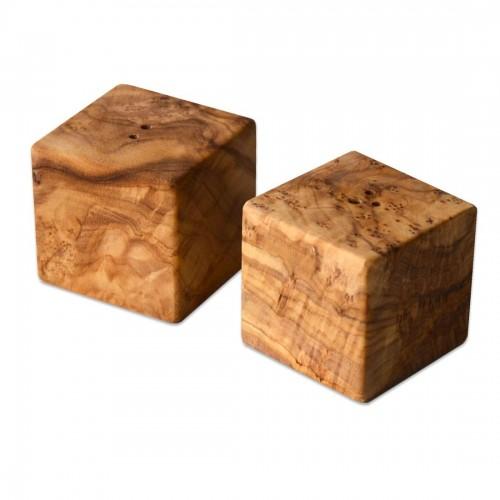 Salt Shaker & Pepper Shaker CUBE Olive Wood | D.O.M.