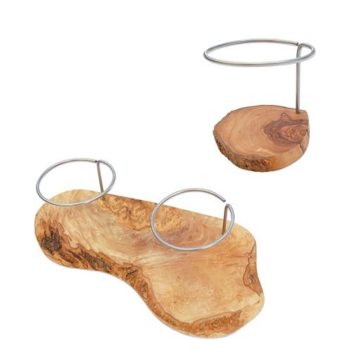 Olive Wood Coaster Rack for Olive Oil Bottles | D.O.M.