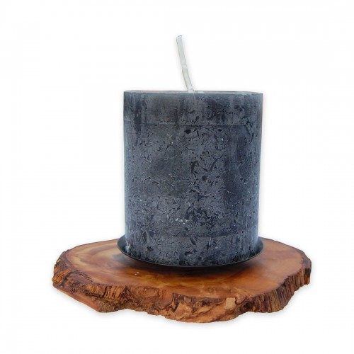 Pillar Candle Holder RUSTIC olive wood & metall plate | D.O.M.