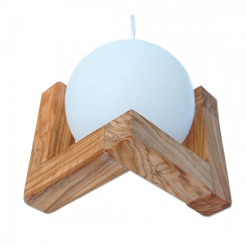 Sustainable olive wood candle holder with ball candle | D.O.M.