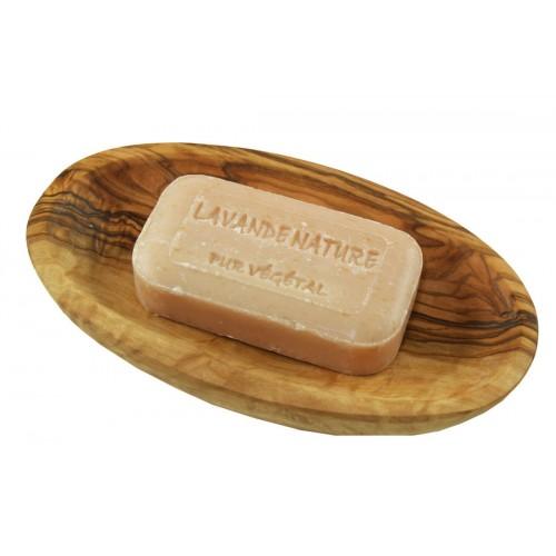 Lavender vegetable soap in oval olive wood soap dish | D.O.M.