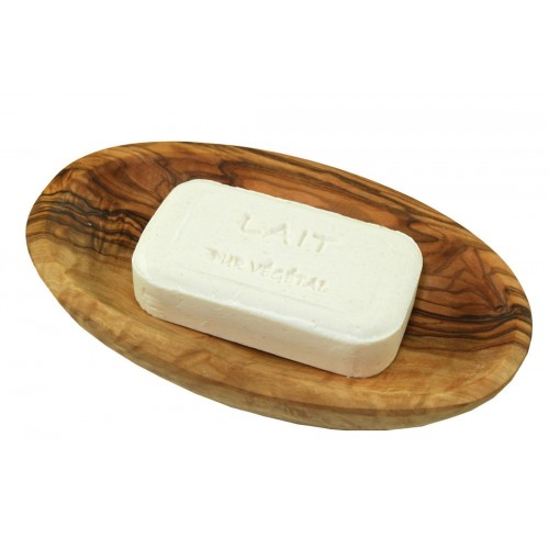 Milk vegetable soap in oval olive wood soap dish | D.O.M.