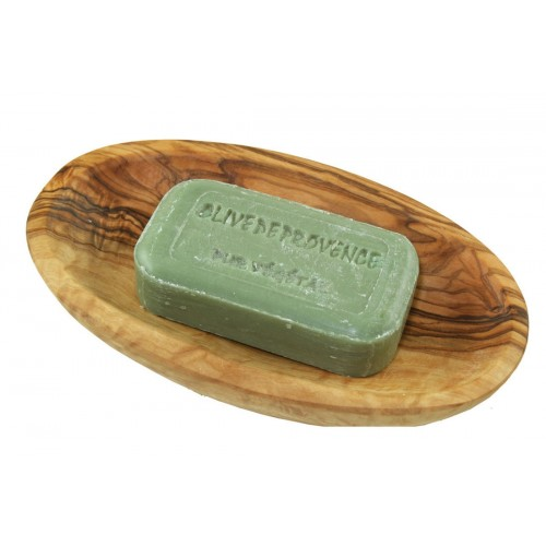 Olive vegetable soap in oval olive wood soap dish | D.O.M.