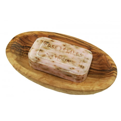 Rose vegetable soap in oval olive wood soap dish | D.O.M.