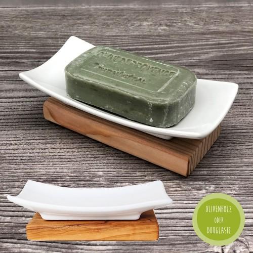 Eco-friendly Soap Tray Porcelain & Wood » D.O.M.