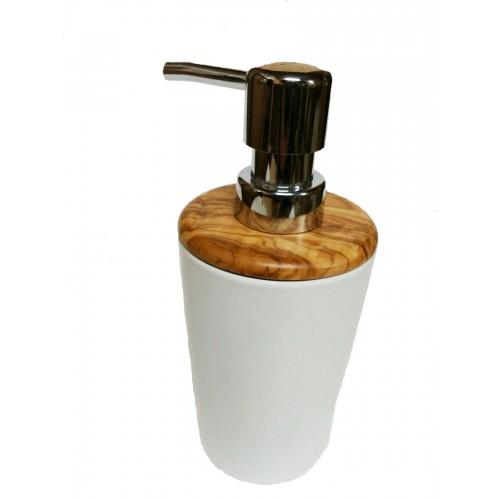 Soap Dispenser »classic« Porcelain & Olive Wood | Olivenholz erleben