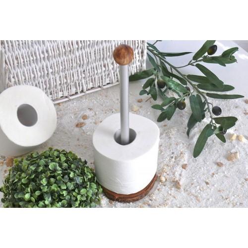 Toilet Roll Stand of Olive Wood & Aluminium | Olivenholz erleben
