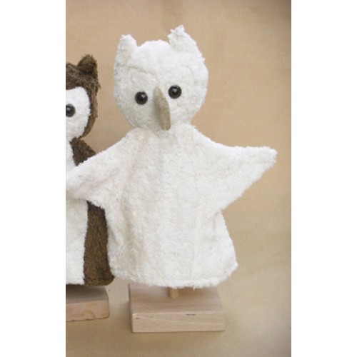 Vegan Glove Puppet white Owl of Organic Cotton | Kallisto