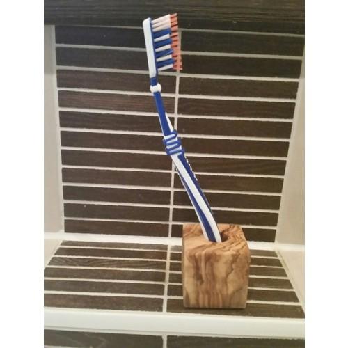 "Toothbrush Holder ""Cube"" of Olive Wood | Olivenholz erleben"