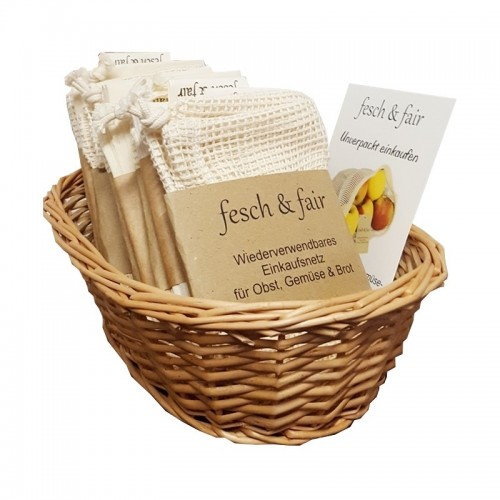 20 certified Organic Cotton String Bag in Willow Basket