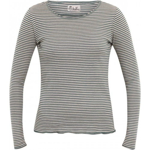Natural-teal striped organic cotton Women's Longsleeve | Jalfe