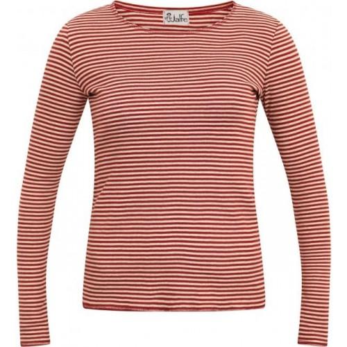 Rust-red finely striped Women's Longsleeve, organic cotton | Jalfe