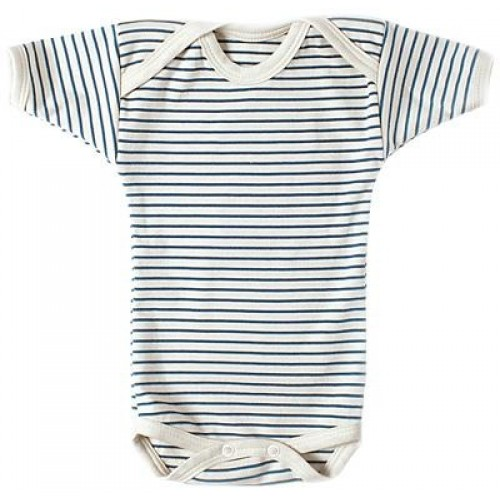 Blue-white striped short-sleeved bodysuit – Organic Cotton | Lotties