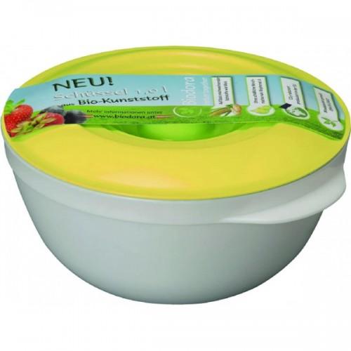 1 L Bioplastic Bowl with yellow lid   Biodora