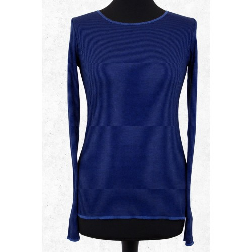 Royal Blue striped organic long-sleeved shirt | Jalfe