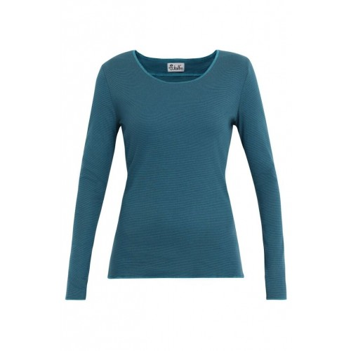 Blue-Grey Woman Longsleeve with contrasting hem | Jalfe