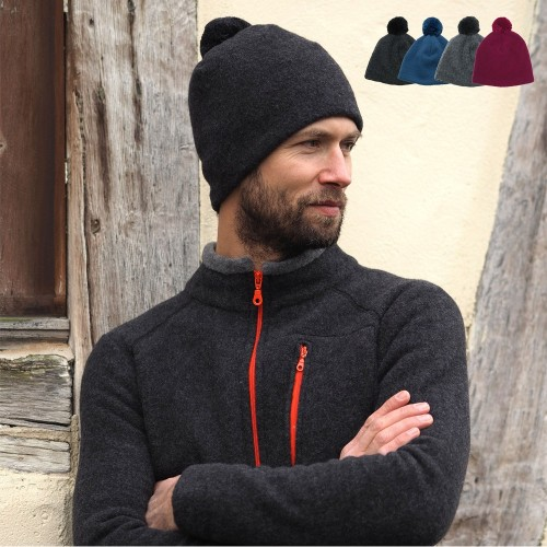 Men Fleece Bobble Cap, Eco Wool & Cotton | Reiff