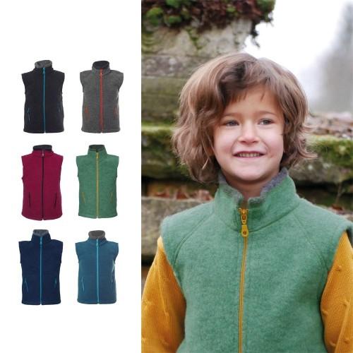 Baby & Kids Fleece Vest Colori, Organic Wool | Reiff