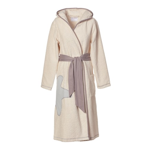 Women's organic terrycloth bathrobe Classic Nature with hood | earlyfish
