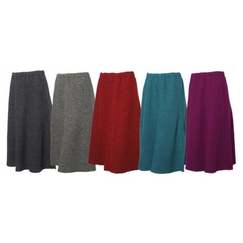 Long Wool Felt Skirt, Organic Wool Crepe Fabric | Reiff