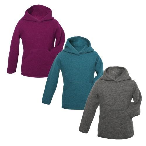 Unisex Kids Organic Wool Crepe Fabric Hoodie | Reiff