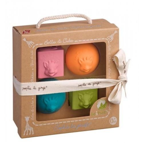SO'PURE Set of 2 Balls & 2 Cubes   Sophie la Girafe