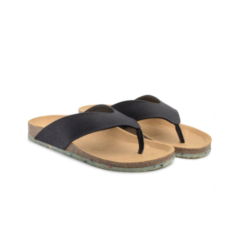Vegan Toe Thong Sandals Ocean Black Apple Leather » Zouri
